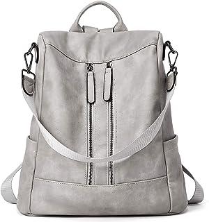Rucksack Damen Anti Diebstahl Rucksack Damenrucksack aus Leder Rucksackhandtasche Tagesrucksack für Frauen Mädchen, Grau