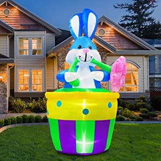 B.N.X 8 Ft Inflatable Easter Bunny Decoration with Basket and Flower for Home Yard Lawn Party
