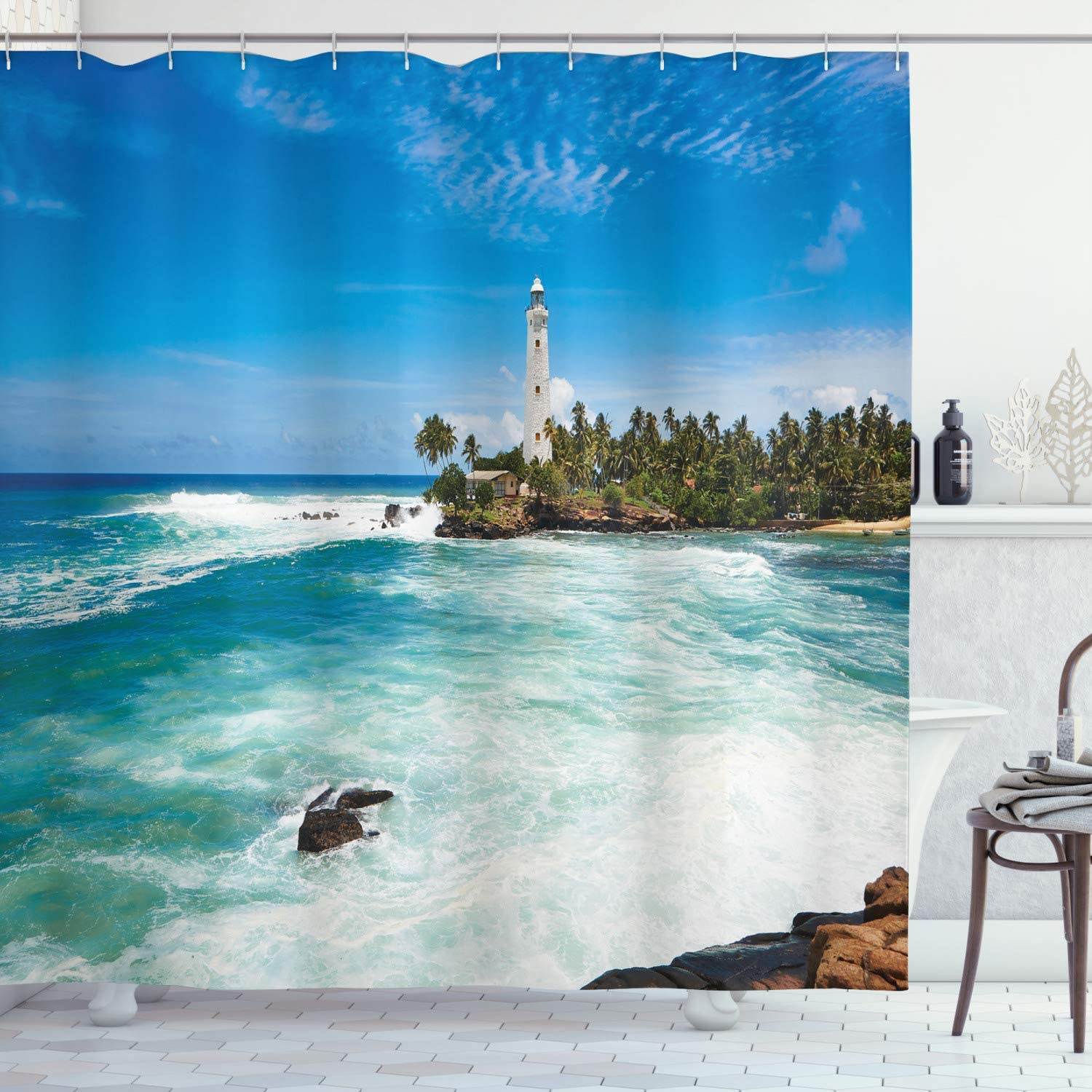 Ambesonne Lighthouse Shower Don't miss the Max 87% OFF campaign Island Tropical Curtain