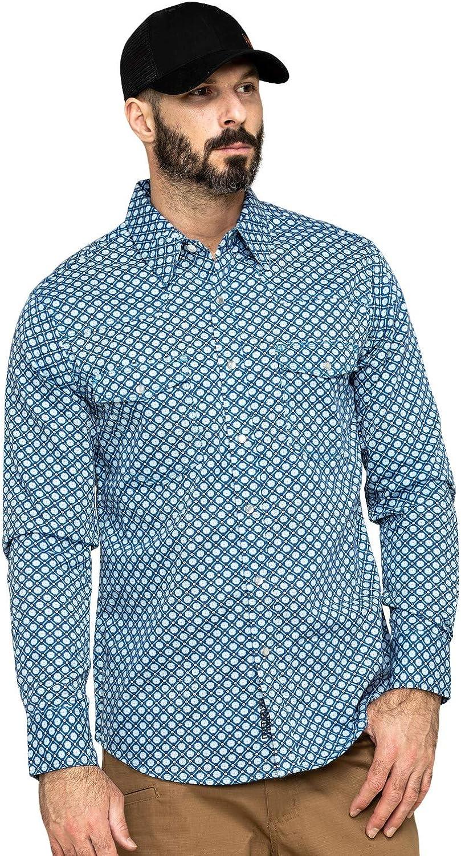 Rock & Roll Cowboy Men's and Fr Printed Medallion Twill Long Sleeve Work Shirt