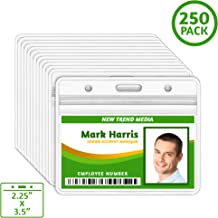 EcoEarth Horizontal ID Badge Holder (Sealable Fits 2.25x3.5 Inch Inserts) (250 Pack), Waterproof ID Holder Bulk, ID Card Holder, Name Badge Holder, Name Tag Holder, Plastic Badge Holder, Clear Card ID