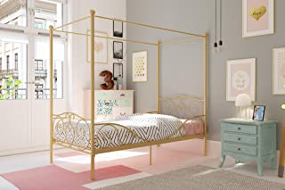 DHP Canopy Metal Bed with Sturdy Bed Frame, Gold, Twin