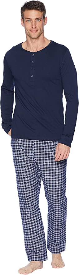 Plaid Long Sleeve Henley Lounge Set