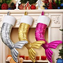 Skylety 3 Pieces Mermaid Tail Christmas Stocking Reversible Sequins Mermaid Stocking for Christmas Party Decorations, 19 Inch