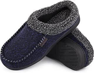 VeraCosy Men's Comfy Breathable Quilted Woolen Fabric Moccasin Slippers With Memory Foam