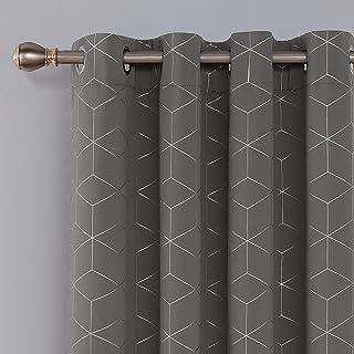 69845e450cad Deconovo Cortinas para Ventana de Salón Dormitorio y Cocina Diseño de Rombo  con Ojales 2 Paneles