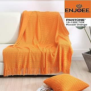 ENJOEE Knitted Decorative Shell Pattern Home Decor Custom Throw Blanket & Cushion Cover Set- Russet Orange