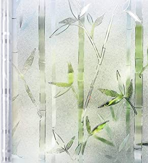 Homein Window Film Privacy, 3D Crystal Clear Bamboo Decorative Stained Glass Window Film Removable Self Adhesive Glass Sticker Static Cling Vinyl Window Paper for Kitchen Office 17.5x78.7inches