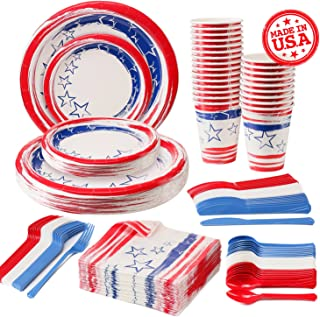 Disposable Patriotic Dinnerware Set, 4th of July American Flag Party Supplies Decorations, Plastic Knives, Spoons, Forks, Paper Plates, Napkins and Cups, 24 Servings