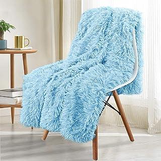 Noahas Shaggy Longfur Throw Blanket with Sherpa Warm Underside, Super Soft Cozy Large Plush Fuzzy Faux Fur Blanket, Lightweight and Washable Kids Girls Room Decorative Blanket, 60x80, Light Blue