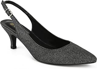 4c90d9fc Greatonu Zapatos de Tacón Clásicos Espigones con Hebillas y Tiras en la  Parte Trasera para Mujer