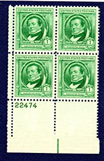 Postage Stamps United States. Plate Block #22474 of Four 1 Cent Bright Blue Green, Famous American Authors Issue, Washington Irving, Stamps Dated 1940, Scott #859.