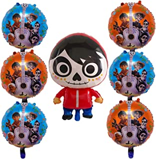 7Pcs Coco Miguel Foil Balloons Party Supplies for Kids Birthday Party Decoration