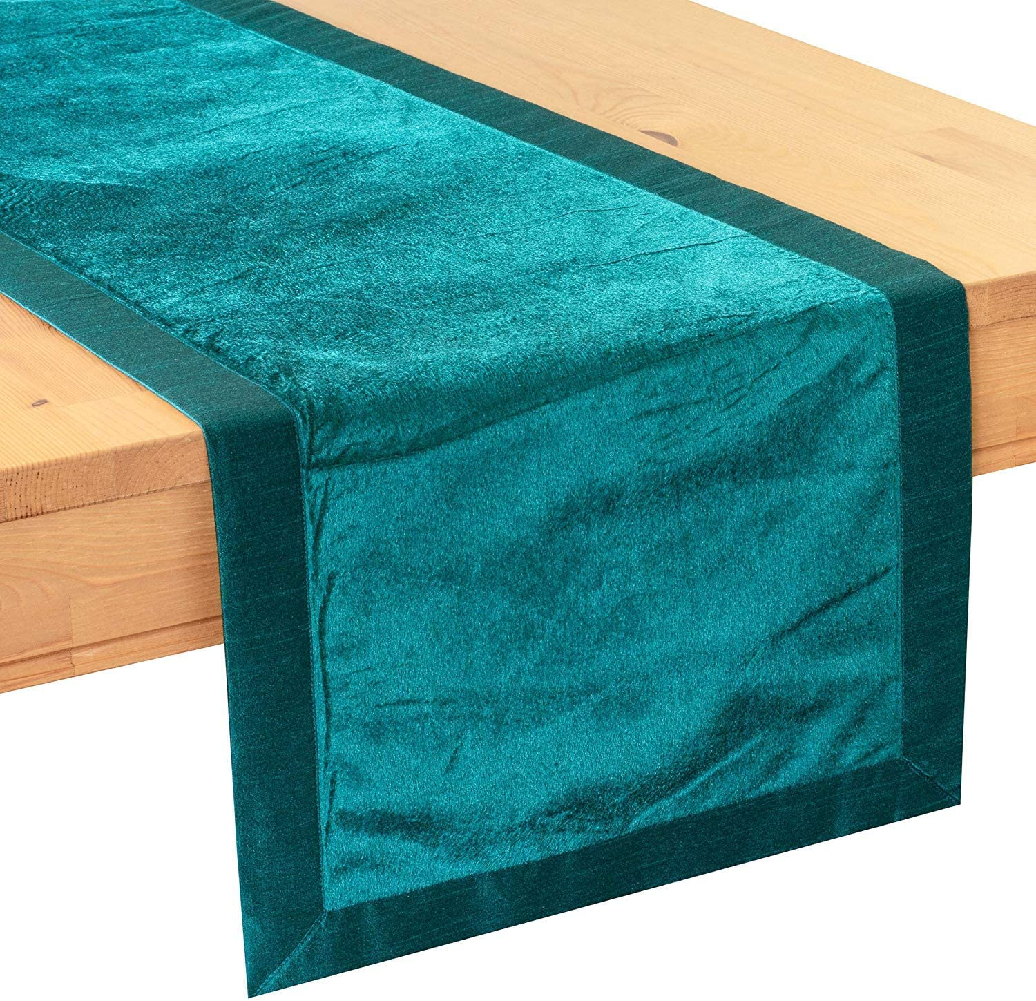 Faux Velvet, 14x36 inch, Pack of 1 Kitchen Holiday Fabric Lined No Fray Edges for Home Properly Finished The White Petals Teal Side Table Runners Wedding Party D/écor Dining Room