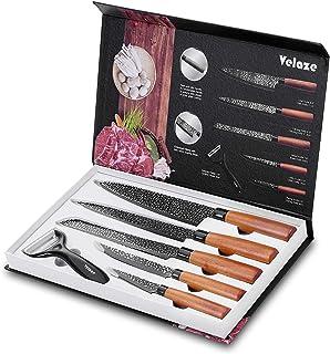 Velaze Couteau Japonais en Acier Carbone Inoxydable, Couteau Damas Cuisine de 6Pcs, avec Revêtement Noir, Couteau de Chef,...