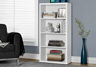 """Monarch Specialties Bookcase - Sturdy Etagere with 3 Adjustable Book Shelves - 48""""H (White)"""