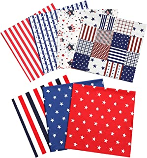 Picheng 100% Cotton Fabric Patriotic Star of The American Flag Independence Themeds of Freedom, Print Quilting Fabric Bund...