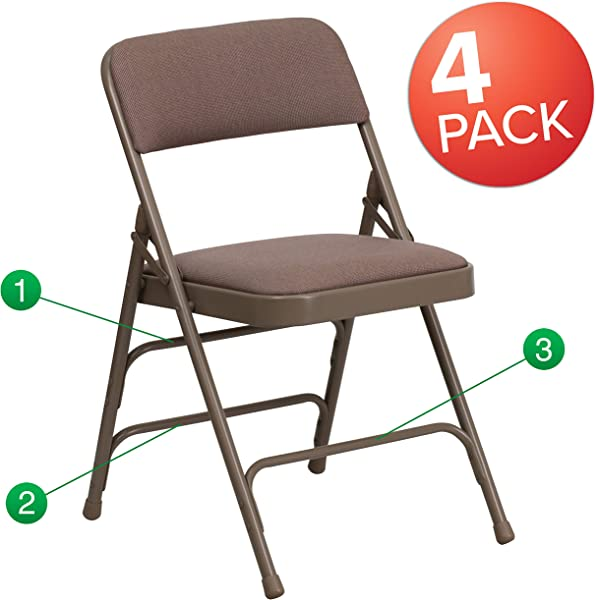 Flash Furniture 4 Pk HERCULES Series Curved Triple Braced Double Hinged Beige Fabric Metal Folding Chair