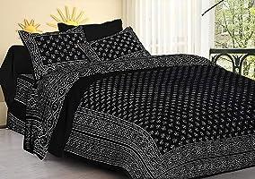 DORMIR TEX PRINT; WHERE DESIGN MATTERS Cotton 144 TC Bedsheet (Black_King) Block Buti Printed,90 inch x 108 inch, Pillow...