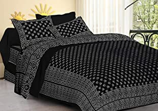 DORMIR TEX PRINT Jaipuri Cotton Double Bedsheet with 2 Pillow Covers (King Size, Black)