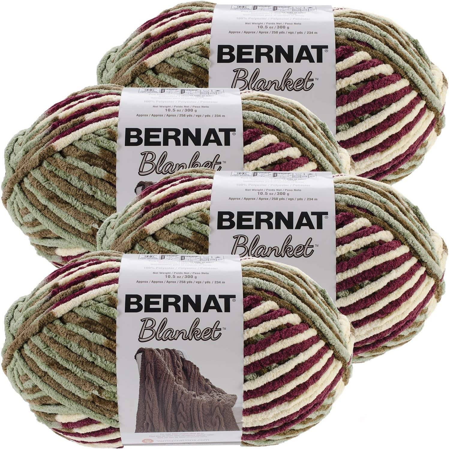 Bernat Plum Selling rankings Fields Blanket Big Ball of Pac 4 Yarn Elegant Multipack