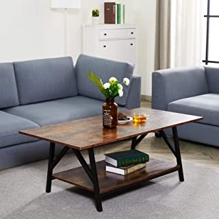 """CO-Z 47"""" Industrial Coffee Table with Storage Shelf, Solid Wood and Metal Legs for Living Room, 2-Tier Accent Cocktail Tab..."""