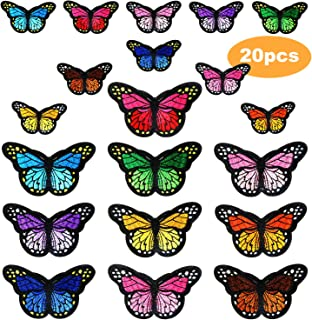20pcs Butterfly Iron on Patches, 2 Size Embroidered Sew Applique Repair Patch