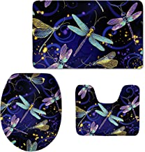 Xhuibop Flannel Bath Mats with Contour Rugs for Toilet Set Non Slip Fluorescence Dragonfly Bathroom Mat Warm Soft Toilet L...