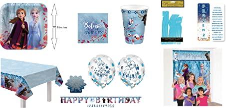 Frozen 2 ULTIMATE Birthday Princess Party Bundle: 16 Paper Plates, 16 Paper Napkins, 16 cups, Tablecloth, Add-An-Age Birthday Banner, 6 Confetti Balloons, Scene Setter with Props, 16 Sets of Plastic Utensils (Fork, Knife & Spoon), A Glitter and Decal Candle and an Exclusive ElevenPlus 2 Bookmark