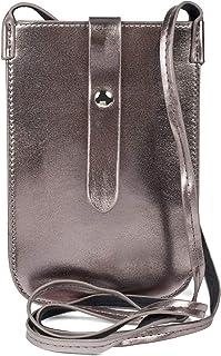 styleBREAKER Damen Handy Umhängetasche in Metallic Optik mit Druckknopf, Schultertasche, Handy-Tragetasche, Mini Bag 02012638