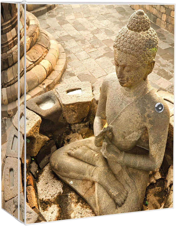 Gestaltung auf Front Motiv Sitzender Buddha mit 2 Schl/üsseln banjado XXL Medizinschrank abschliessbar gro/ßer Arzneischrank 35x46x15cm Medikamentenschrank aus Metall grau