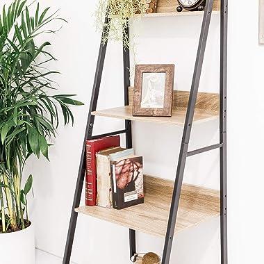 C-Hopetree Ladder Shelf Bookcase - Bookshelf - 4 Tier Plant Stand - Black Metal Frame