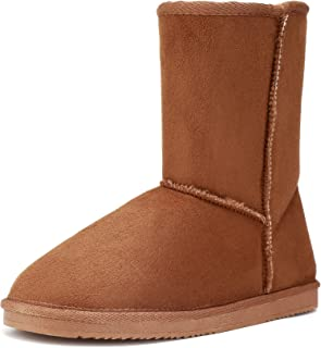 FUNKYMONKEY Women's Winter Classic Suede Imitation Wool Lined Snow Boot