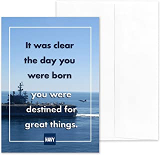 Destined For Great Things - US Navy Military Encouragement Greeting Card - Includes Envelope - 5
