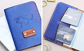 Personalized Real Leather Passport Cover, Travel Wallet, Credit Card holder, World map stamp, handmade, Custom name initials