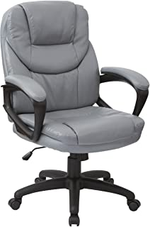 Office Star Padded Faux Leather Seat and Back Contour Managers Chair with Padded Armrests and Heavy Duty Nylon Base, Charc...
