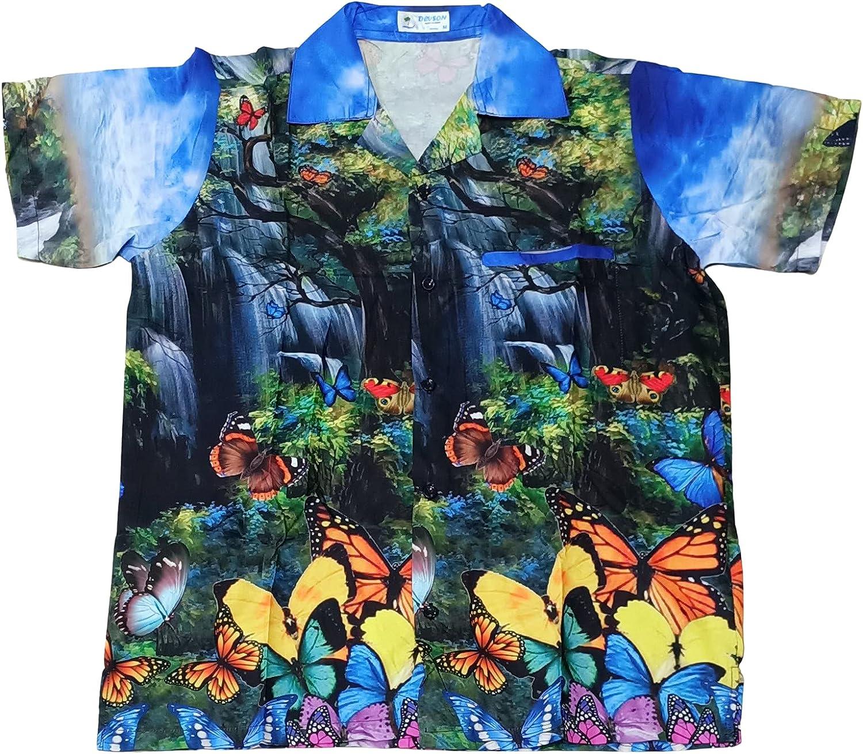 DEVSON Butterfly Allover Digital Print ECO Friendly Men Hawaiian Shirts Multicolored