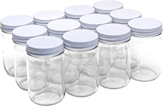 North Mountain Supply 12 Ounce Glass Regular Mouth Mason Canning Jars - With White Safety Button Lids - Case of 12