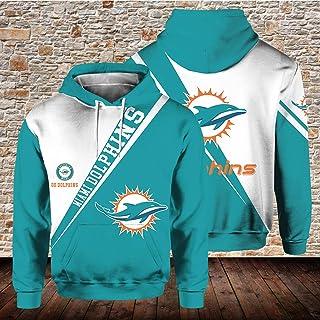 NFLユニフォーム Yitadom ラグビージャージ カジュアルメンズウェア メンズスウェットシャツ ゆるくて快適 3Dデジタル印刷 長袖プルオーバー 32チーム ヨーロッパとアメリカの大型サイズのフルレンジ マイアミイルカ 男性 ジップフード...
