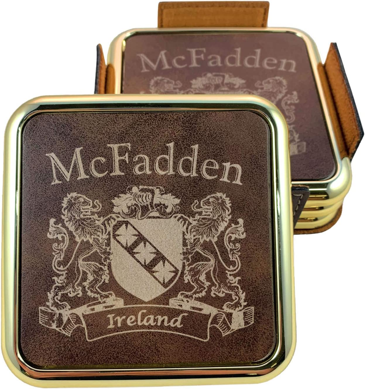 Lowest Special Campaign price challenge McFadden Irish Coat of Arms Rustic - 4 Brown Coasters Set