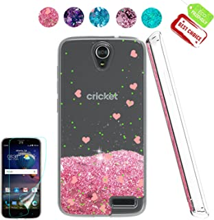 ZTE Grand X 3 / ZTE Warp 7 / Z959 Case,Atump[Liquid Glitter Series][HD Screen Protector] Shiny Glitter Moving Liquid Clear TPU Back Cute Girl Gift Shockproof Cover Shell Case for ZTE N9519 Pink