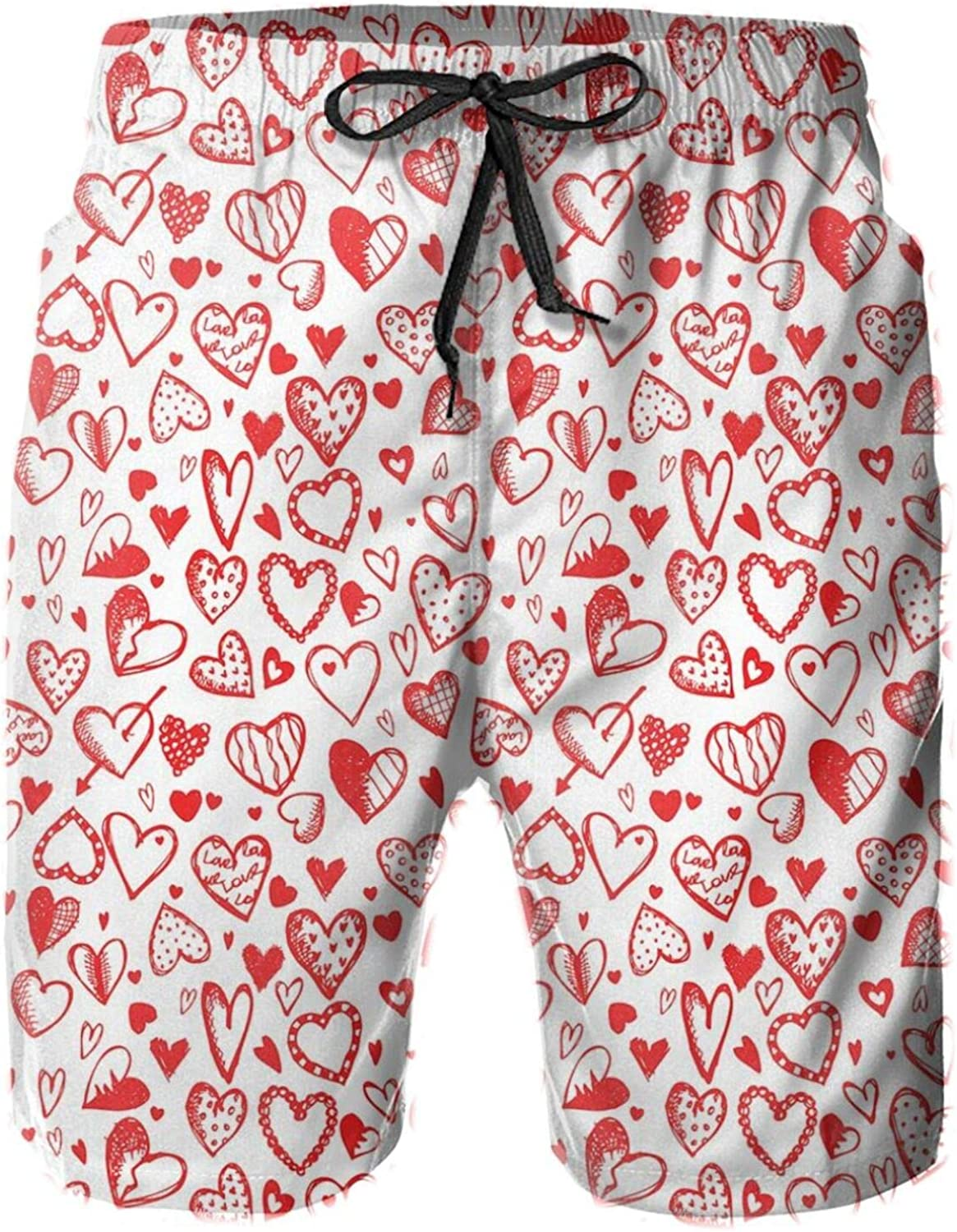 Red and White Pattern with Sketchy Hearts Dots Arrows Romance and Love Theme Printed Beach Shorts for Men Swim Trucks Mesh Lining,L