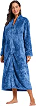 Foucome Womens Fleece Robe Long Soft Zip-Front Bathrobe with Two Side Pockets