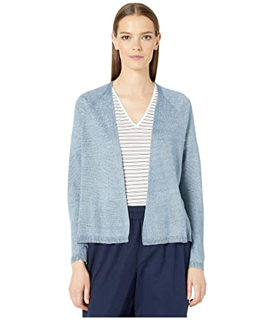 Eileen Fisher Organic Linen Delave V-Neck Cardigan (Chambray) Women