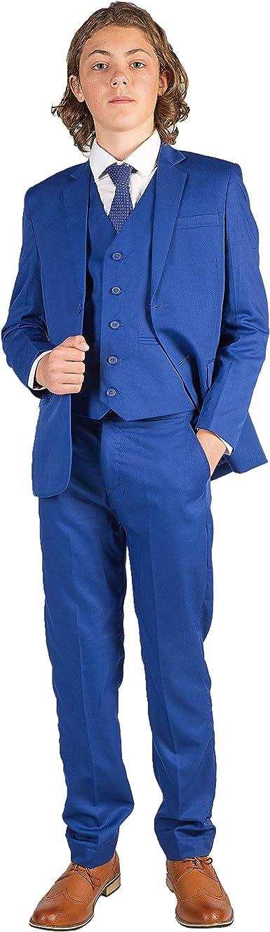 Romario Traje eléctrico azul para niños, traje de boda para niños, traje de chico de página, traje de baile, traje de 3-6 ma 14 años