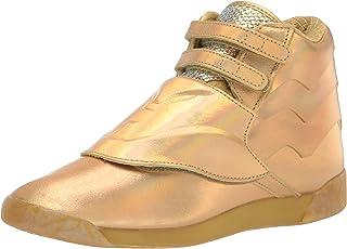 Women's Freestyle Hi Sneaker, Gold Metallic/Excellent RED, 8