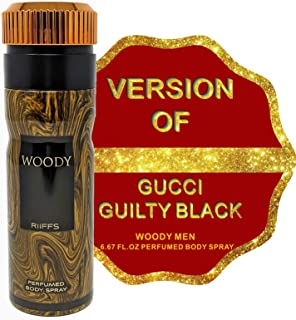 WOODY Deodorant Body Spray for Men, Body Mist Spray Uber-Masculine Fragrance, Gift for Holidays, for all Skin Types and Daily Use, 6.67 Fluid Ounce