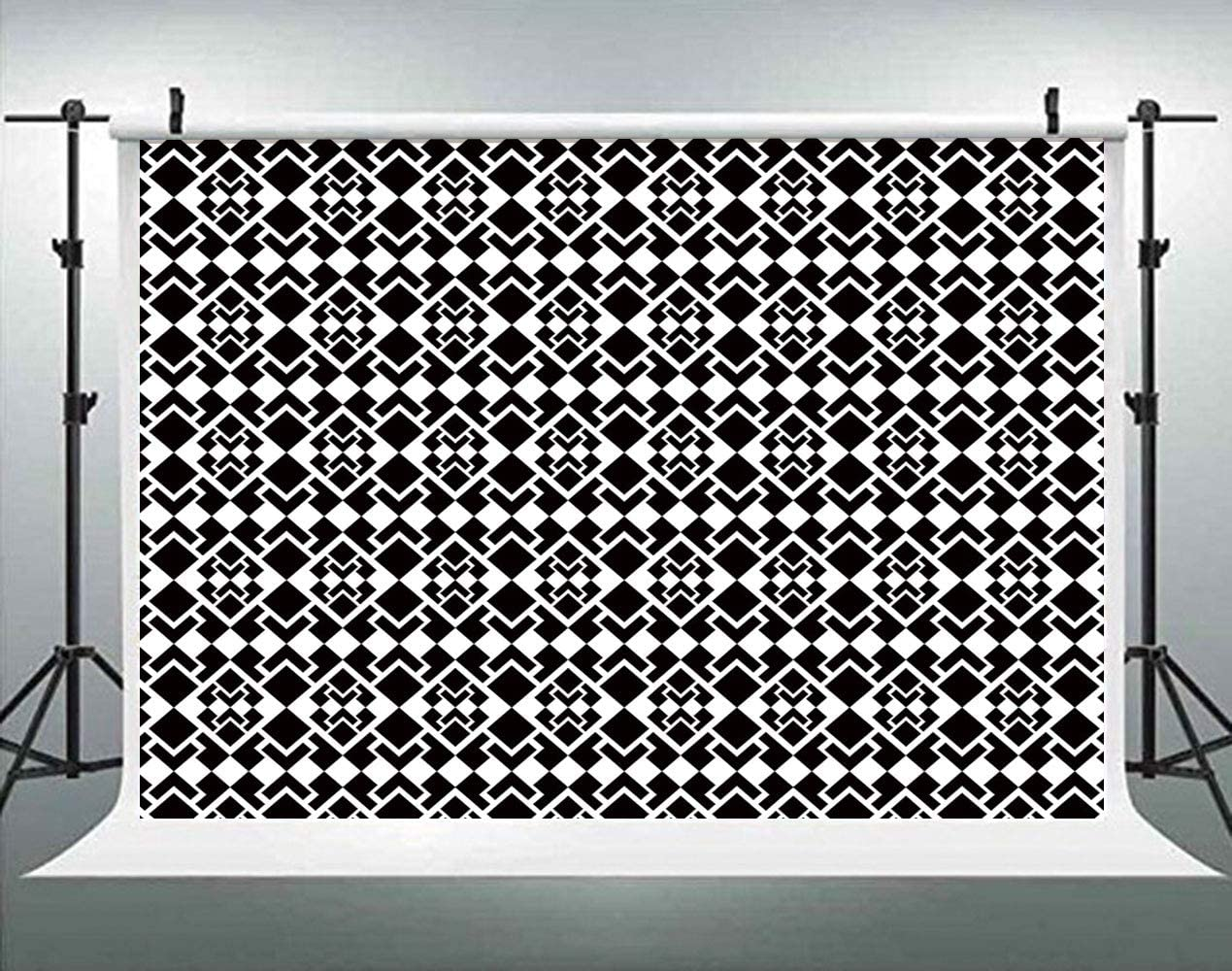Pale Backdrop Vintage Photo Background Cotton for Booth Graduation Prom Decor No Wrinkle AM001556 Geometric Tile Illustration Retro Modern Ornament ALUONI 7x5ft Abstract