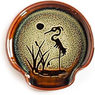Georgetown Pottery Spoon Rest Hamada Standing Heron, Handmade, Made in USA, Ceramic