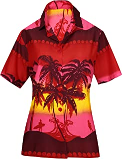 Womens Relaxed Hawaii Blouse Shirt Premium Casual Dress Shirt Printed A